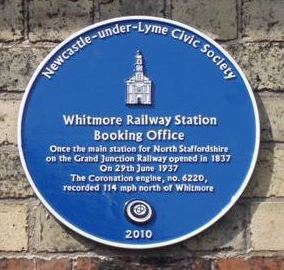 Picture of the Whitmore Railway Station blue plaque